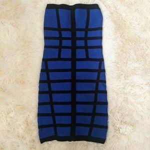 Xs Bebe blue and black shimmer bodycon bandage dre
